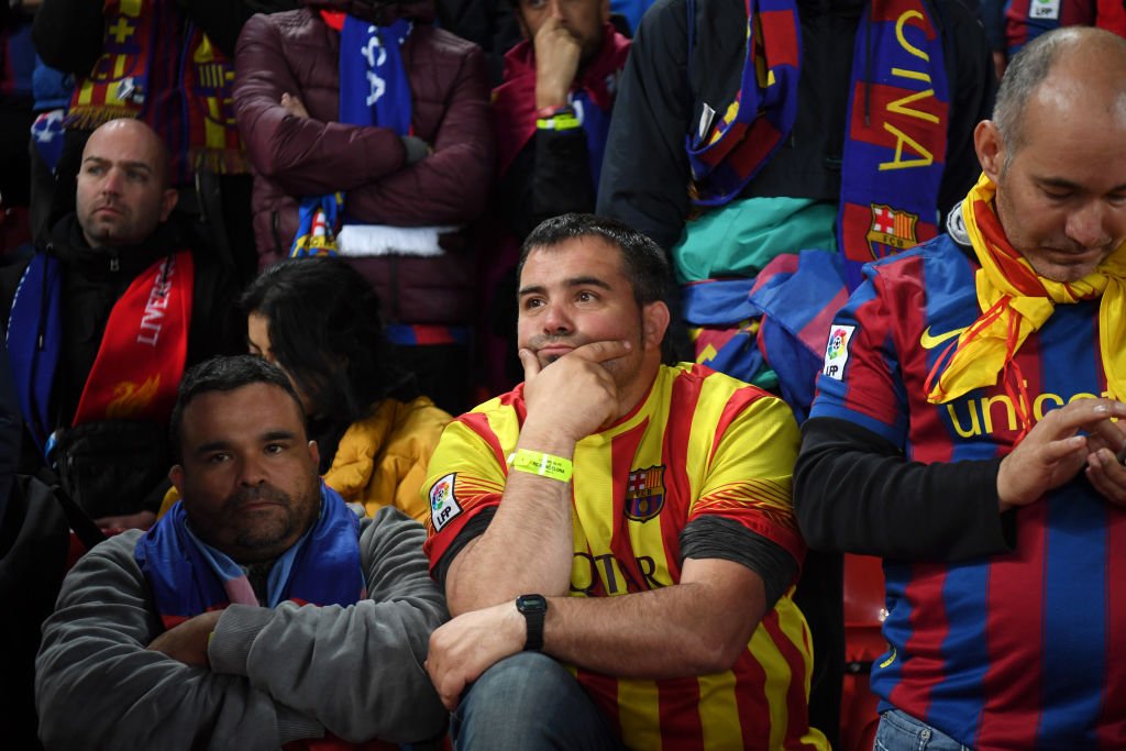 Fanáticos del Barcelona tristes