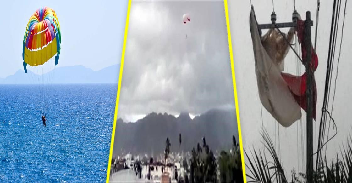 ¡Cual papalote! Falla parachute y mujer vuela a la deriva en Puerto Vallarta