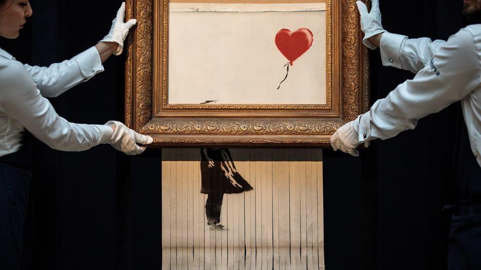 Sin trucos: 'Love in the Bin' de Banksy vuelve a subasta