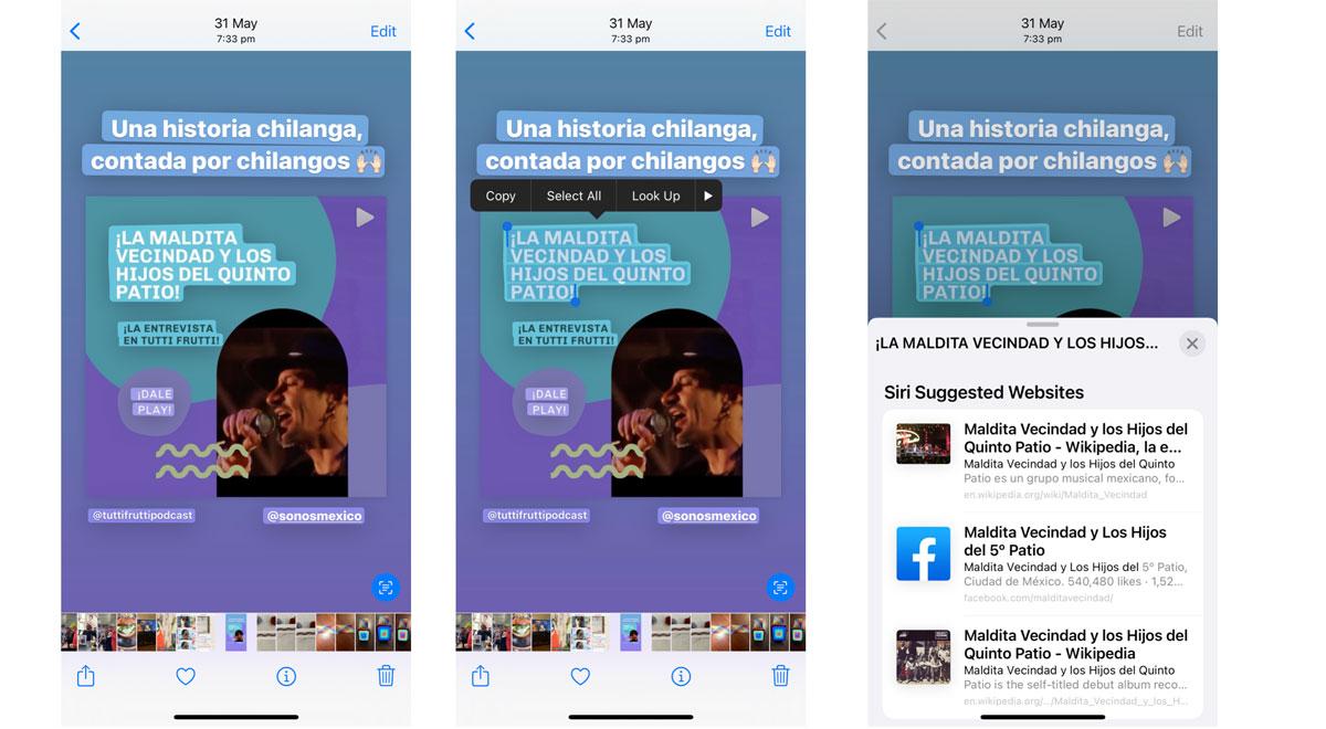 Live Text también funciona con fotos tomadas previamente