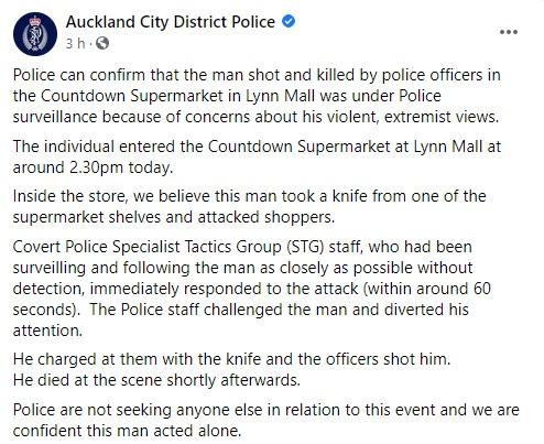 comunicado policia auckland