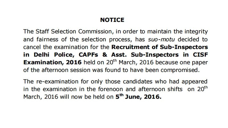 SSC Cancelled CPO 2016 Exam With Immediate Effect