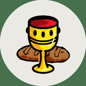 Illustration av bröd och vin