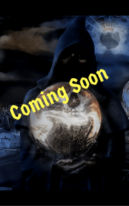 """A shadowy figure holds a glowing crystal orb and says """"Coming Soon."""""""