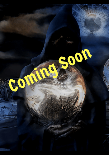 "A shadowy figure holds a glowing crystal orb and says ""Coming Soon."""