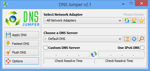 Dns Jumper main screen