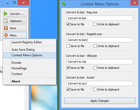 Add convert option to context manu