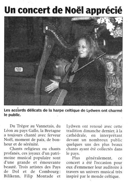 Le Pays malouin, concert de Noël, décembre 2005