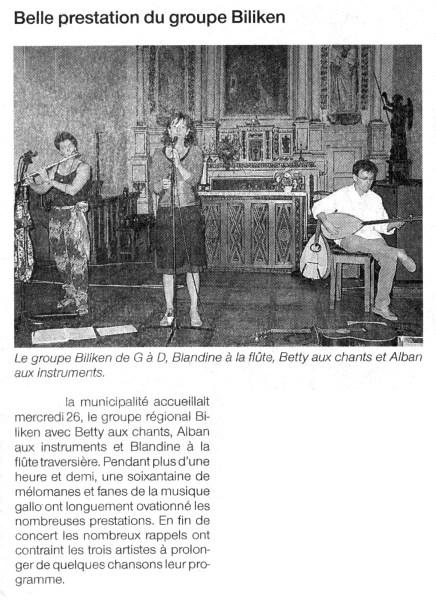 Ouest-France, concert au Mont-Dol, juillet 2006