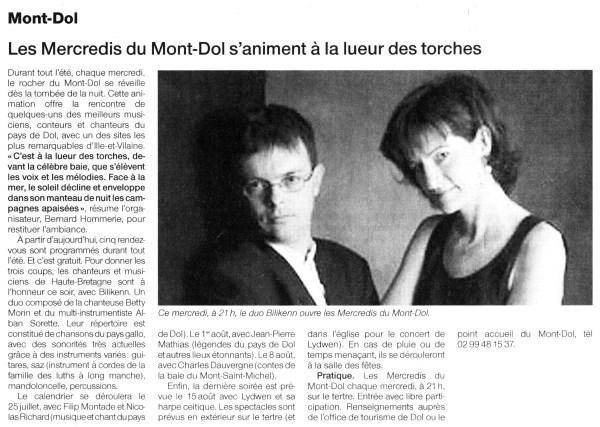 Ouest-France, Mercredis du Mont-Dol, juillet 2007