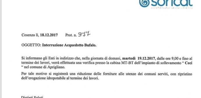 Cosenza e Savuto, domani interruzione acquedotto Bufalo 04 1 510x251