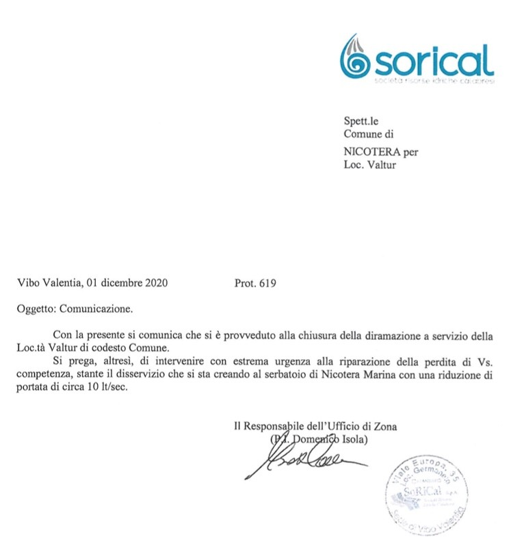 Sorical segnala perdita nella rete di Nicotera Marina img 5560