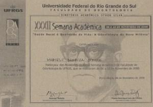 diploma marcelo barboza borille participou da XXXII semana acadêmica