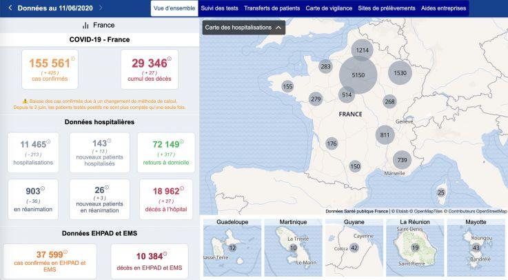 Map of deconfinement in France on June 11, 2020, evolution of indicators