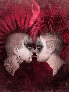 Two ambiguously gendered/sexed punks in pale pinky-beige and charcoal with mohawks face each other, nose to nose. They share what appears to be a cigarette or joint between their mouths and a lighter patch of smoke that simulates the twirl of a dancer rises between their heads. Barely visible in red-black against a red-black ground, the right hand figure's arm is bent up, her (because earrings and fingernail polish suggest a she) hand cradles 'his' face visually separating his darkened eyes from the tribal tattoo partially visible on his neck. Taken as a whole, the image is suggestive of a cracked but not broken heart.