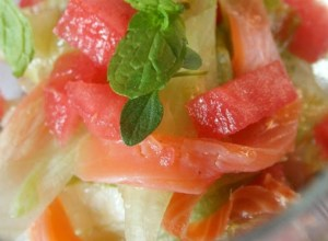 Insalata di Anguria e Salmone con limone e Pepe di Sichuan