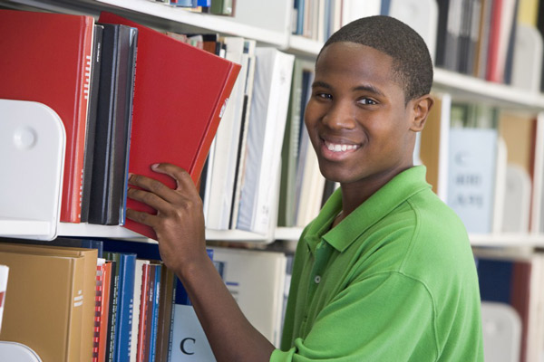Young man library