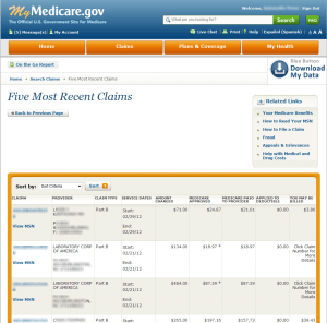 MyMedicare.gov Sample