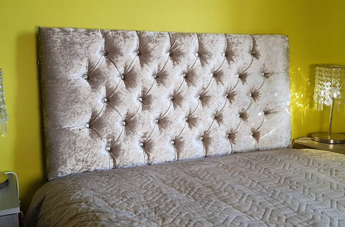 "44/"" INCH TALL HEADBOARDS nice design CHENILLE Fabric Crystal Diamonds ALL COLORS"