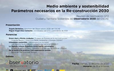 Reactivación grupo de trabajo Ciudad y Territorio Sostenible Observatorio 2030