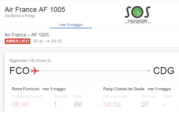 Volo Air France AF 1005 Roma Parigi cancellato