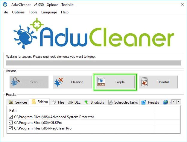 Logfile_Adwcleaner_sos-malware Tutorial Adwcleaner - Scan Option