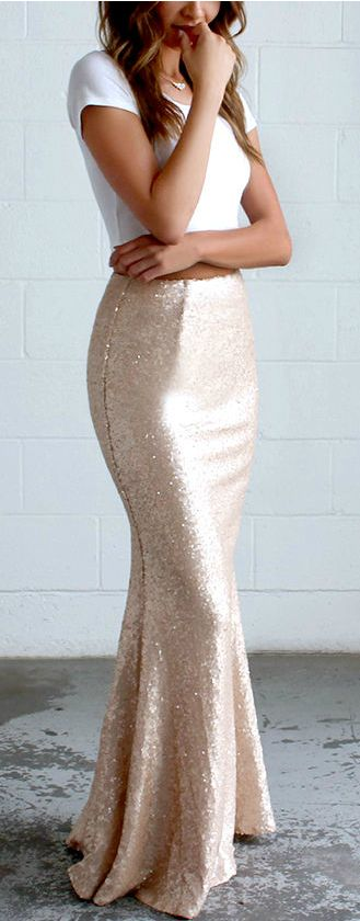 Gold Sequin Maxi Skirt | Photo Credit