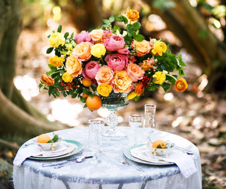 Spring Floral Centerpiece | Wedding Centerpiece | Centerpiece with Oranges