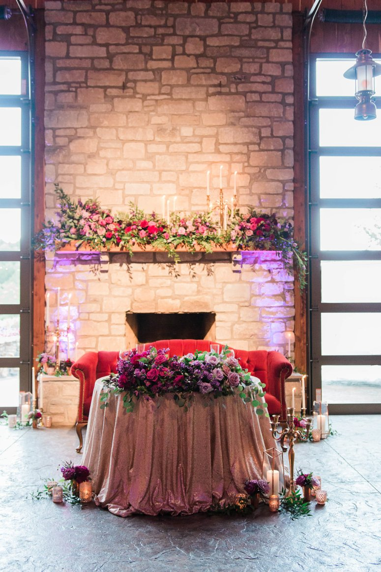 Sweetheart Table with Red Velour Seating