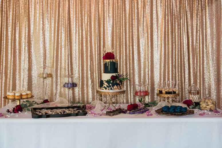 Dessert Station with Gold Linens