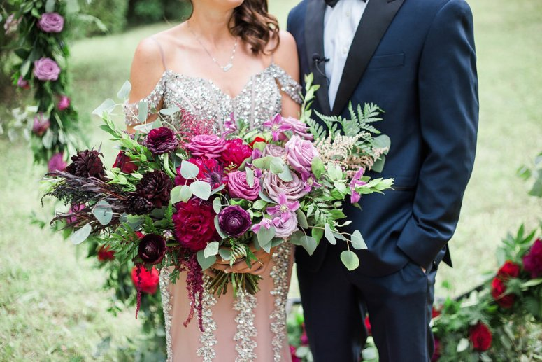 Red, Pink, and Purple Wedding Florals