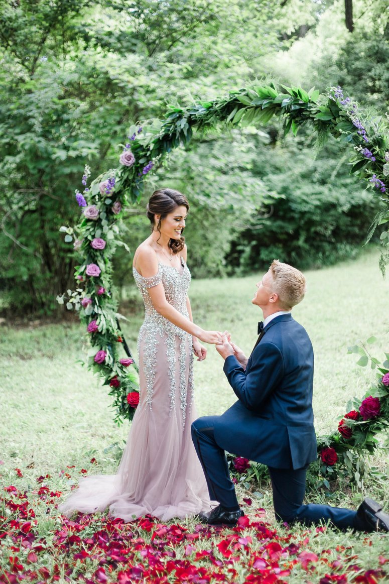 Proposal with Floral Wreath and Rose Petals