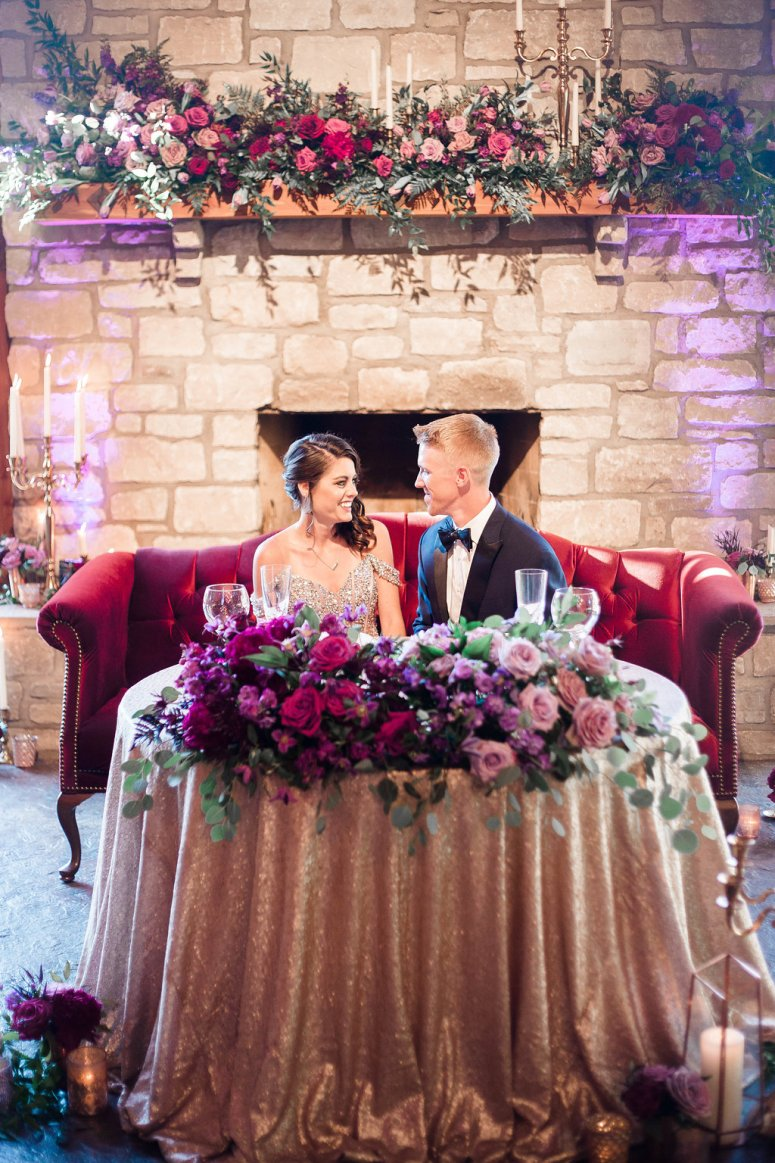 Sweetheart Seating at Wedding with Gold Table Linen