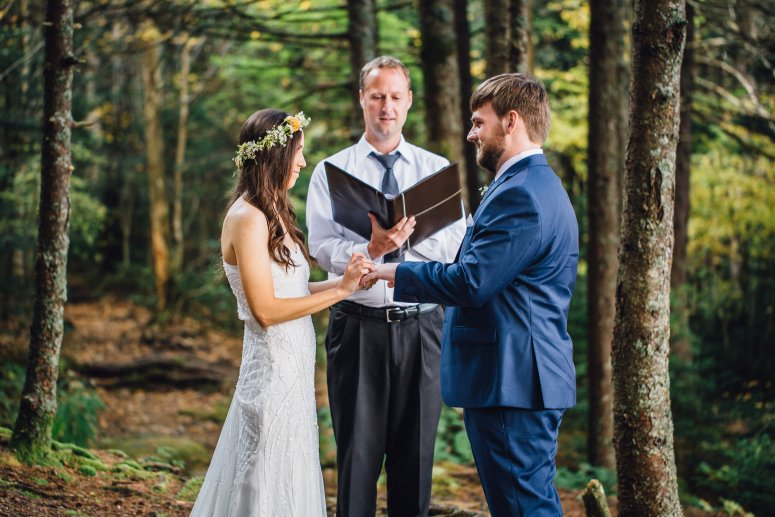 Intimate wedding ceremony outdoors