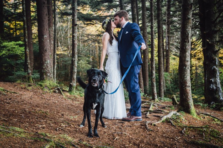 Bride and Groom with Dog at Wedding