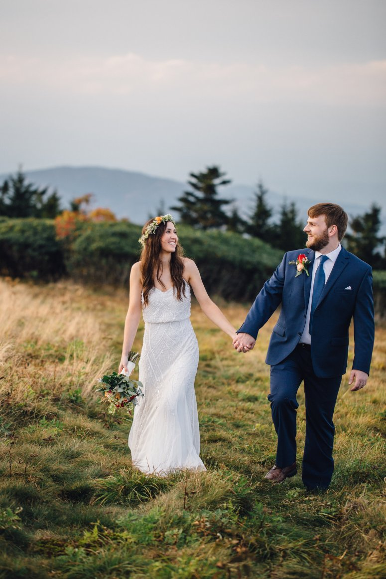 Bride and Groom Holding Hands, Mountain Wedding