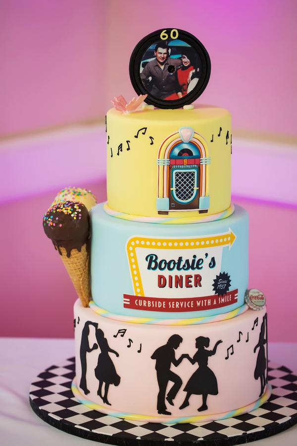 1950s themed wedding cake