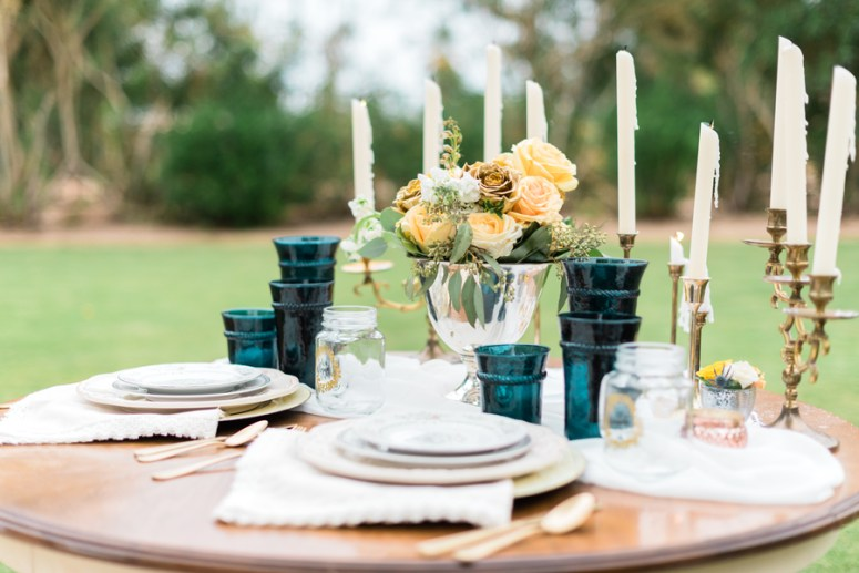 Gold & Green Sweetheart Wedding Table Setting