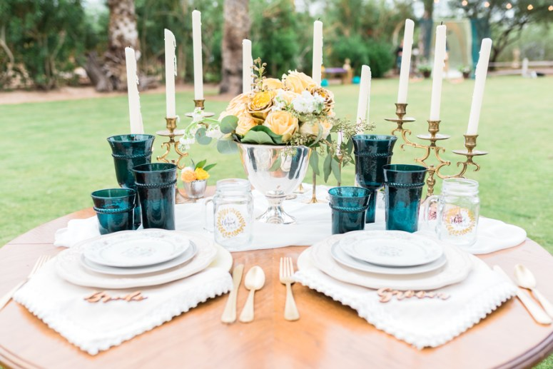 Gold and Green Sweetheart Table Setting