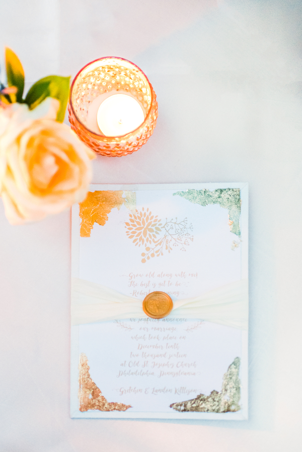 Gold & Blue Watercolor Wedding Invitations