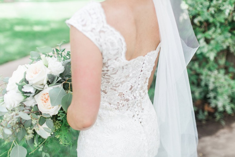 Button Down Wedding Gown with Straps