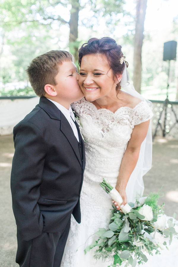 Bride and Son Embracing