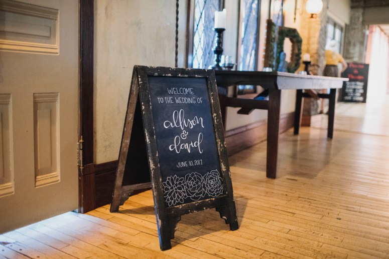 chalk board welcome sign at wedding