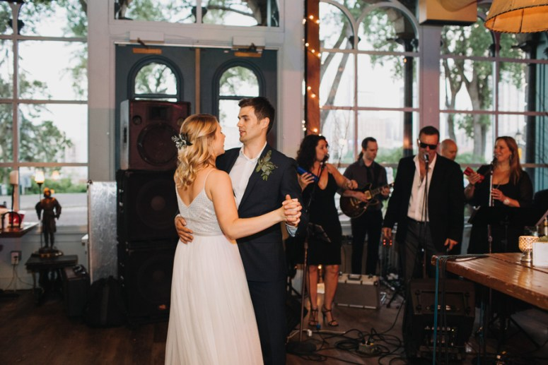 bride and groom first dance at intimate wedding