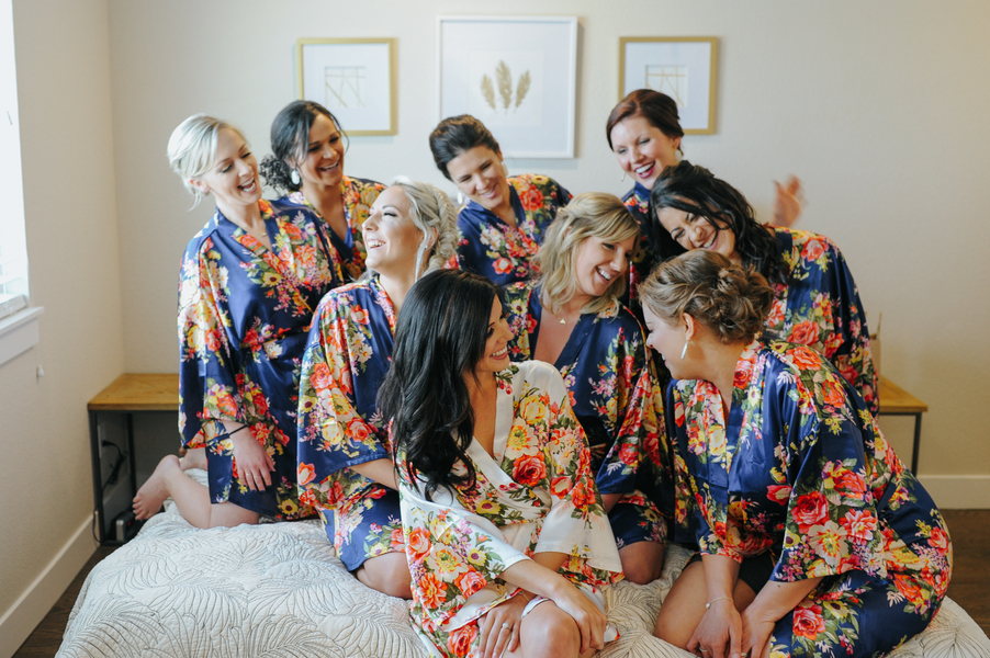 Bride and bridesmaids in silk floral robes
