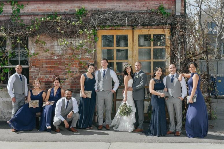 Modern Bridal Party wearing Navy & Gray