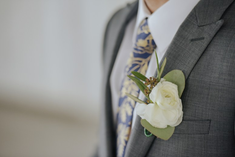 White Grooms Boutonniere