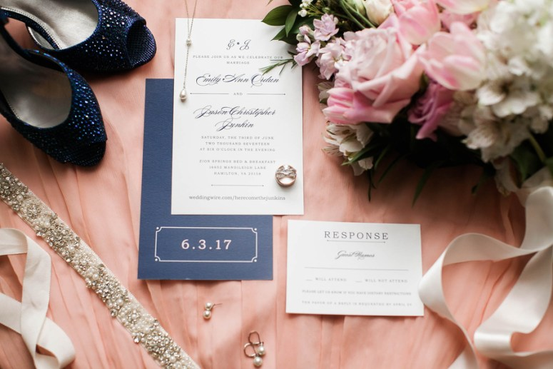navy and pink wedding day details