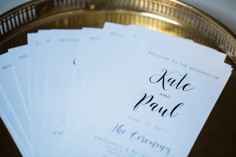 black and white wedding day programs