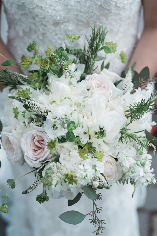 white and green boho wedding bouquet